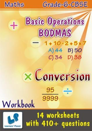 maths practice worksheets Basic Operations BODMAS and Conversion for grade 6 cbse