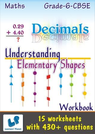 maths online worksheets Decimals and Understanding Elementary Shapes for 6 cbse kids