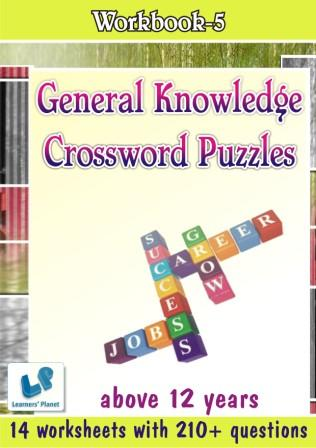 General Knowledge Crossword Puzzles Worksheets for above 12 yrs