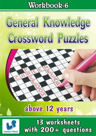 Crossword Puzzles Worksheets General Knowledge for above 12 yrs
