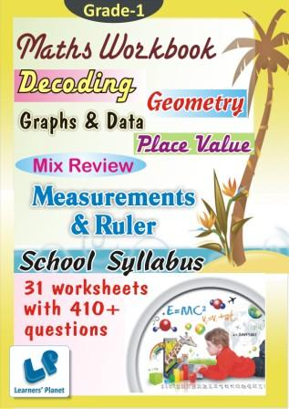Practice Worksheets on Decoding, Geometry, Graphs & Data, Measurements & Ruler, Mix Review Workbook, Place Value