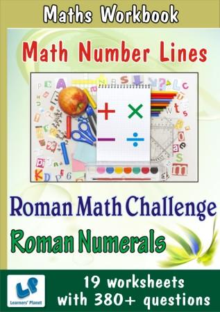 Maths Number Lines Worksheets, Roman Math Challenge, Roman Numerals Worksheets