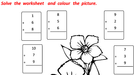 Vertical Addition with Three Terms worksheets on maths for class 1