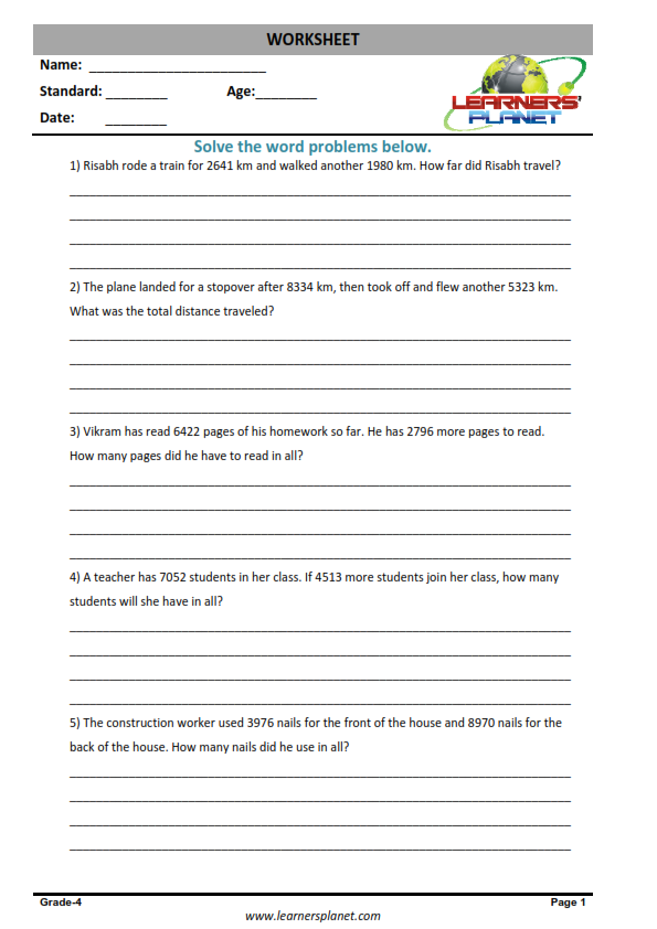 Mixed Addition And Subtraction Word Problem Worksheets For Grade 4