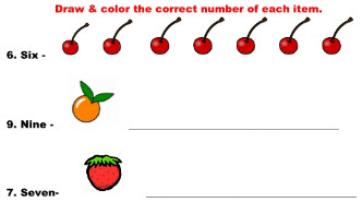 Online worksheets on Number & Counting for math Kindergarten students.