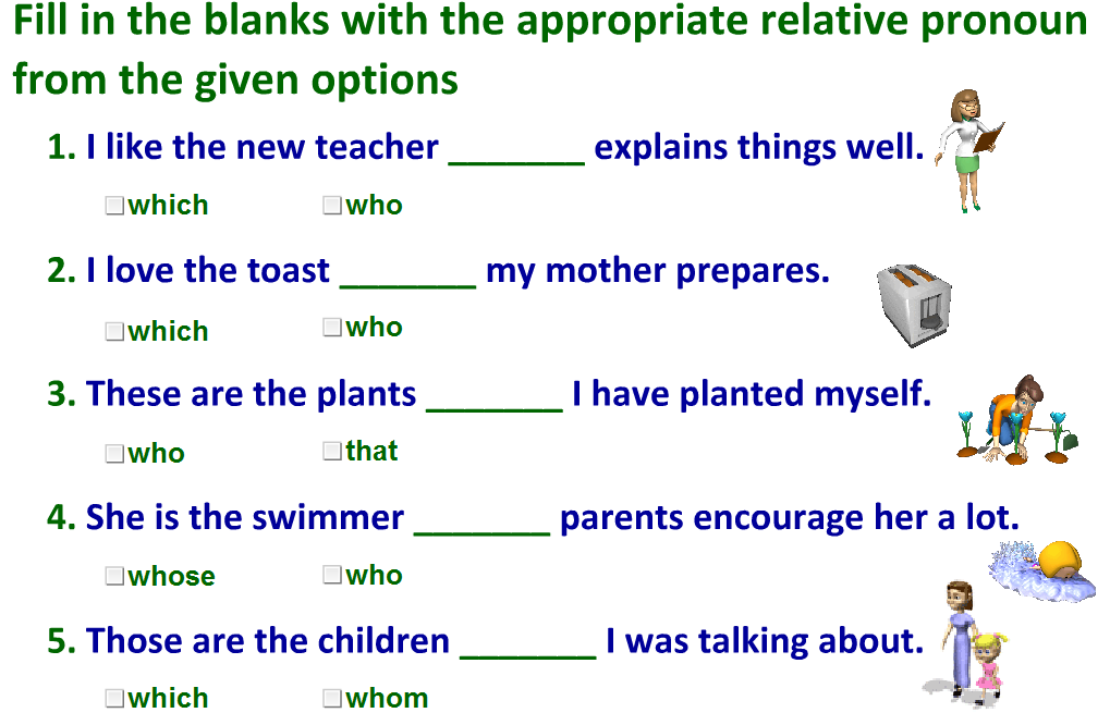 Relative Pronouns Worksheet With Answers