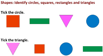 worksheets on Shapes with colour images