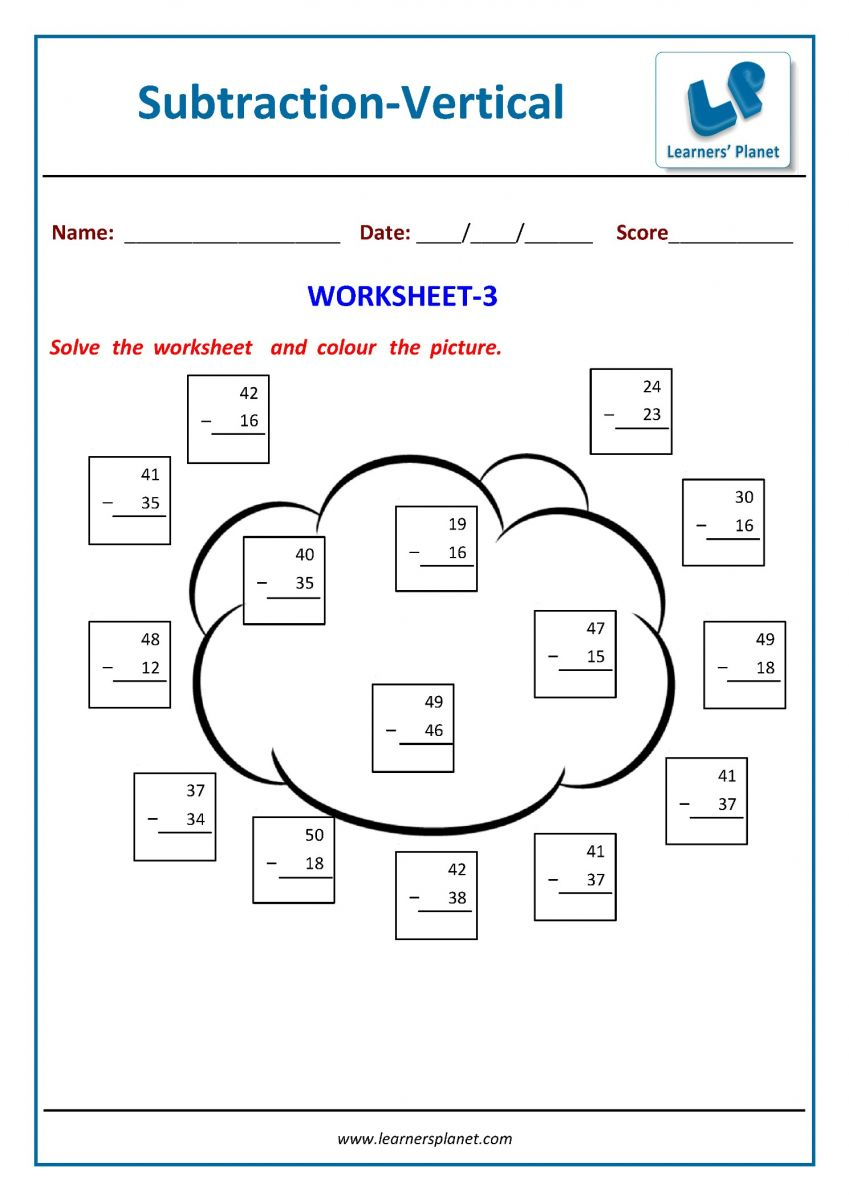 subtraction math printable worksheets for class 1