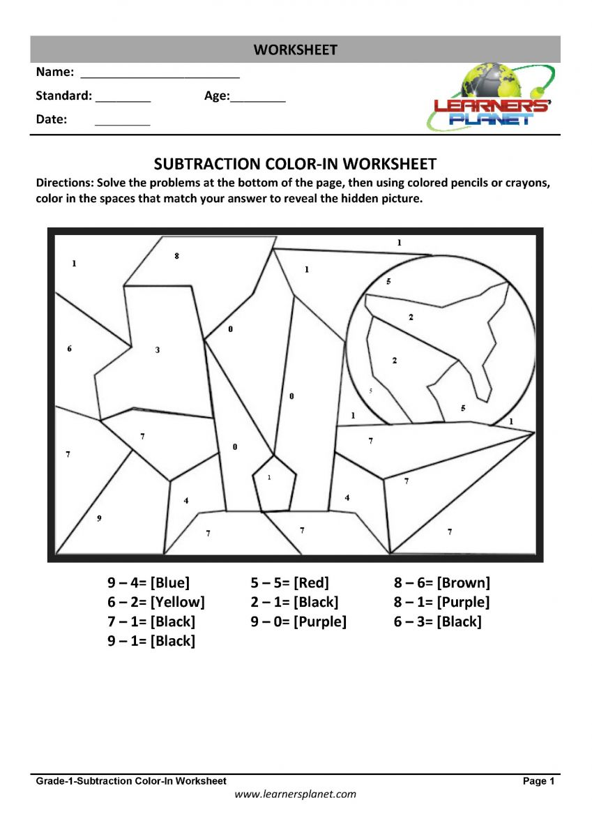 math class 1 subtraction worksheets download pdf