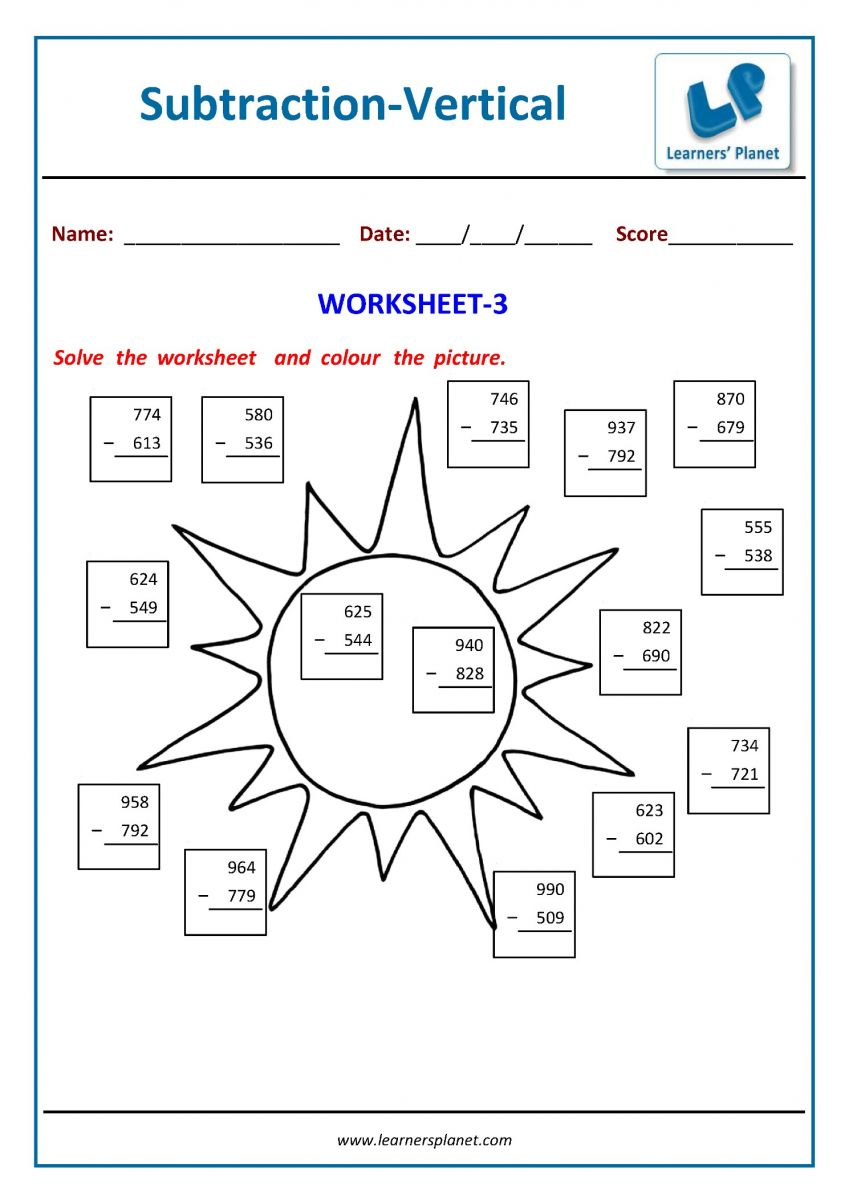 Vertical format subtraction worksheets for 2nd class
