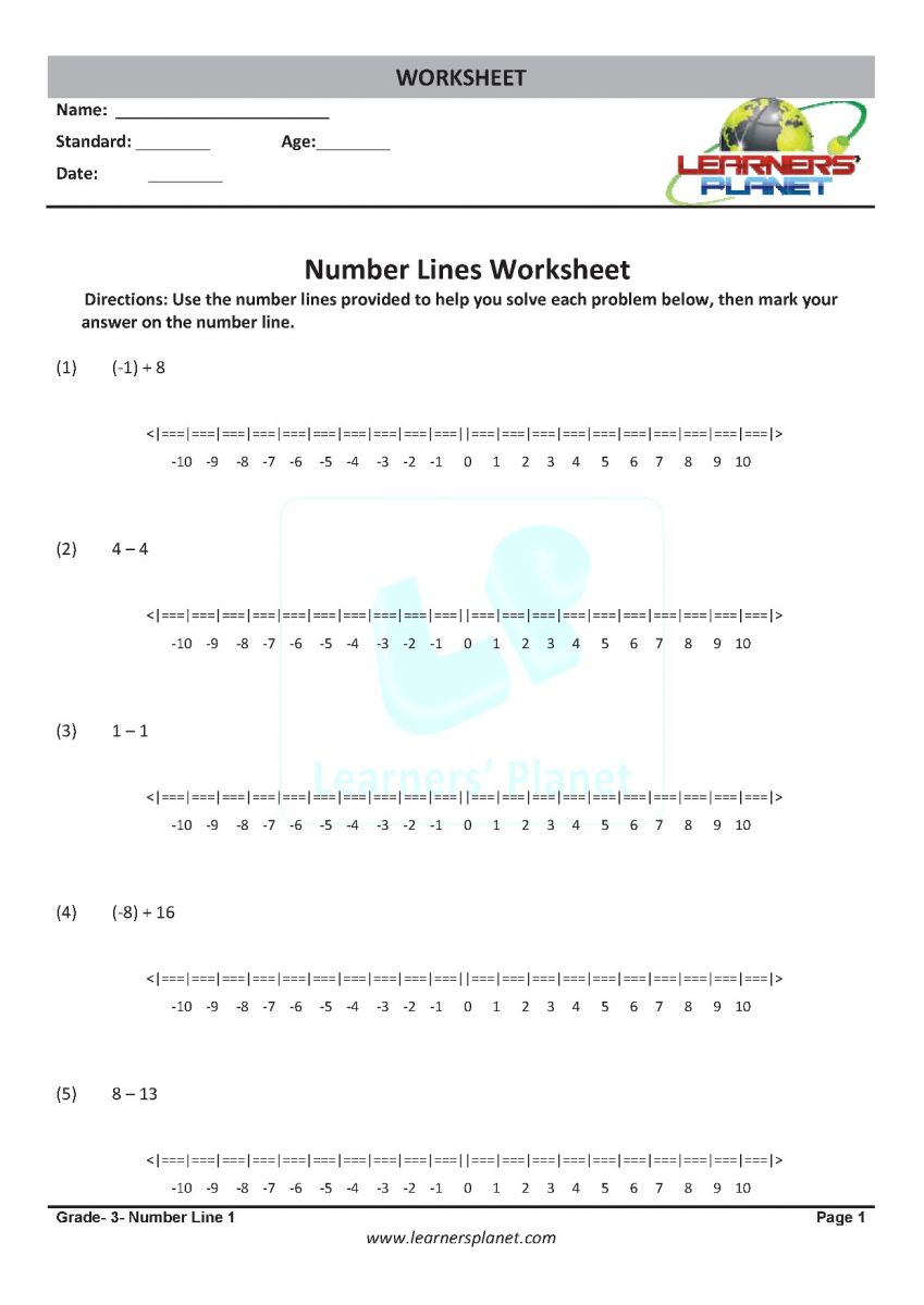 Number line worksheets PDF math class 3 download