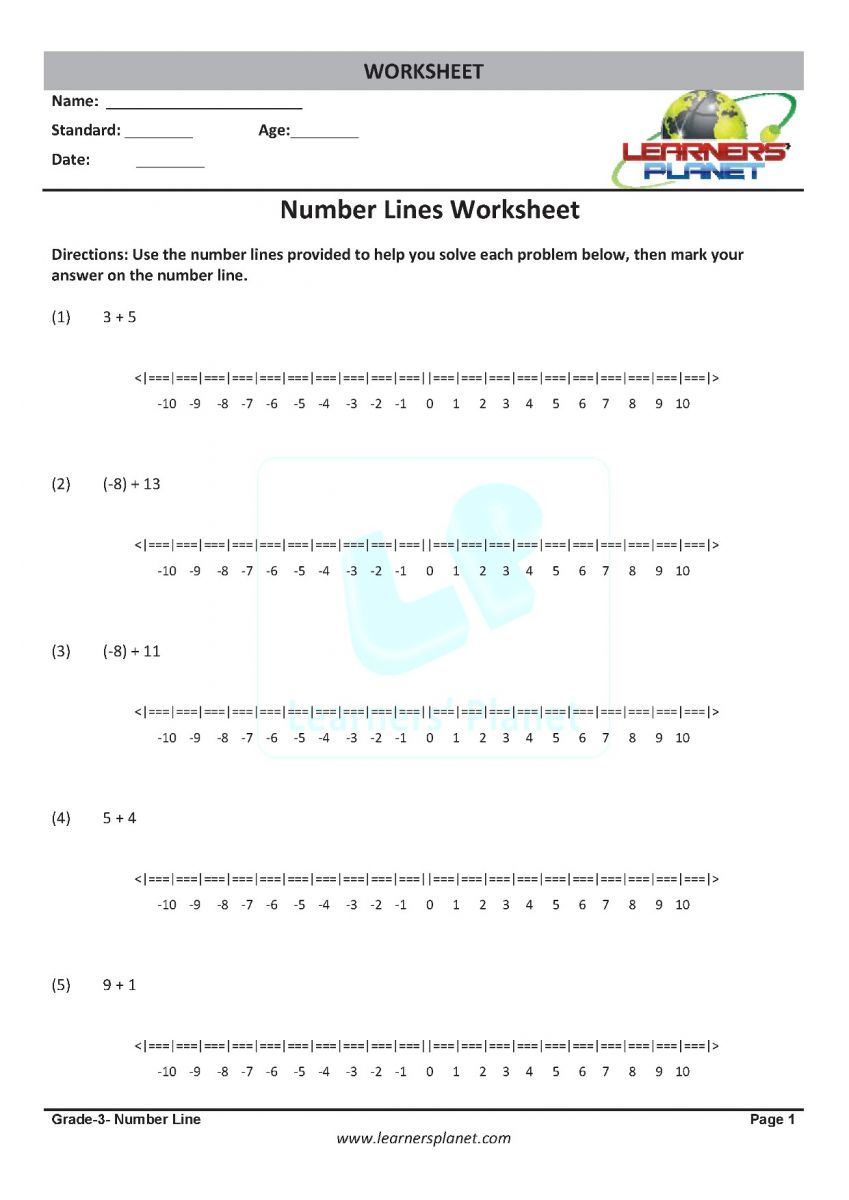 Class 3 math cbse number line PDF worksheets download