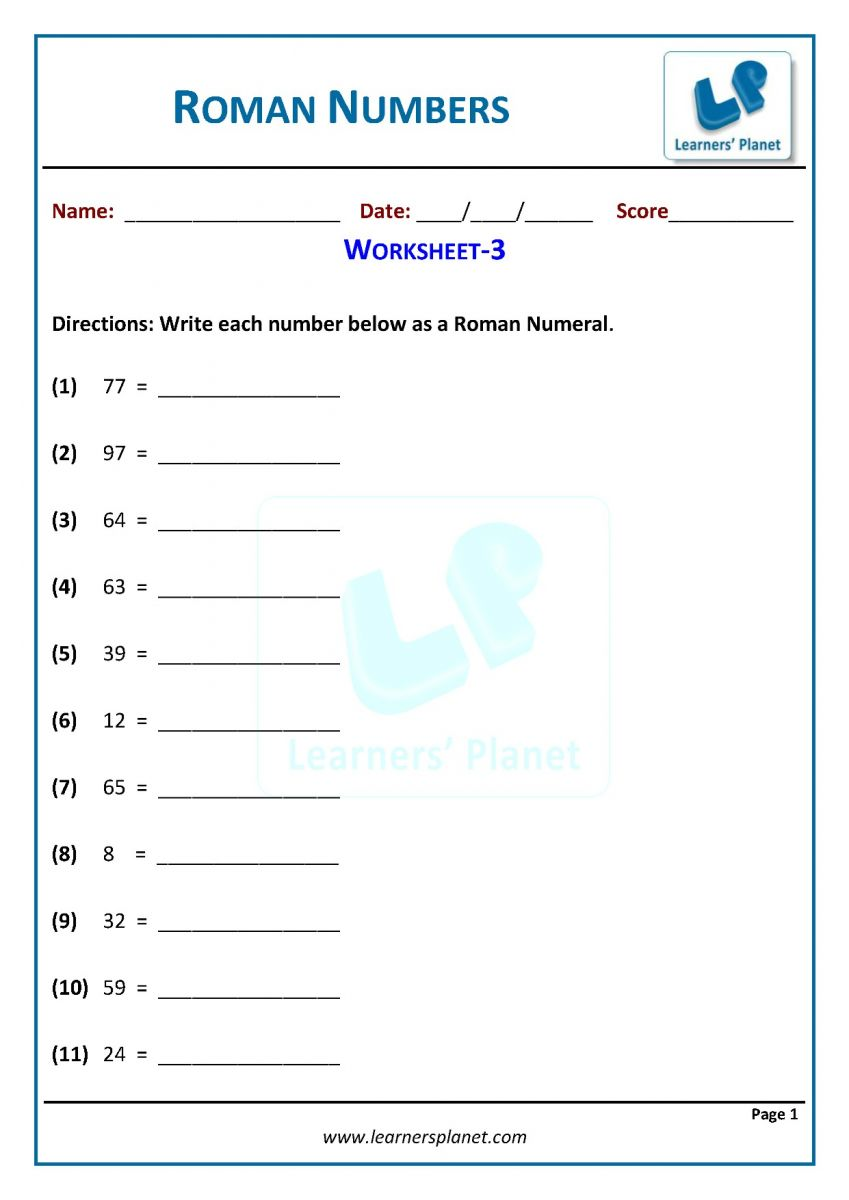 - 3rd Grade Math Writing Roman Numerals Worksheets