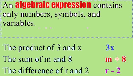 algebraic expressions worksheets grade 4