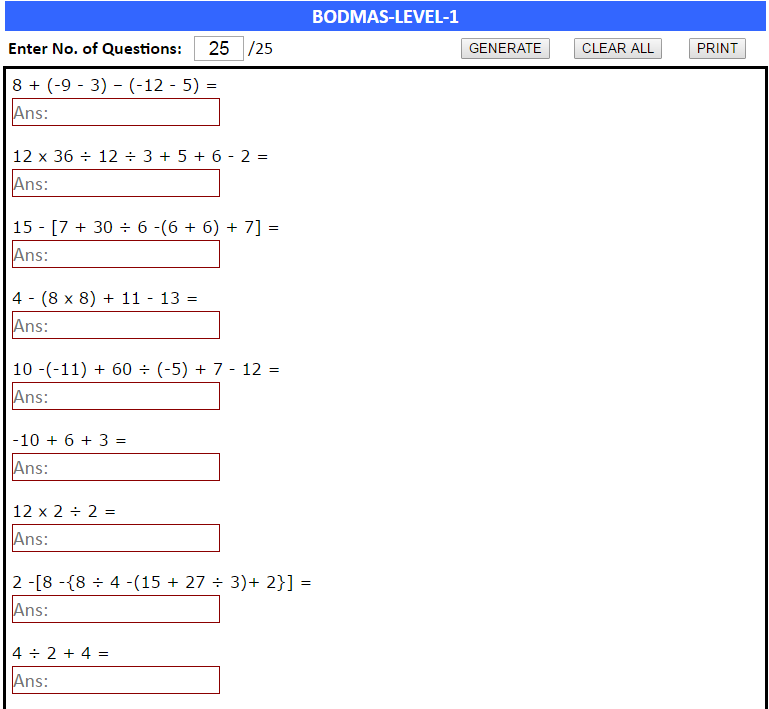 Math Order Of Operations Worksheets Using The Bodmas