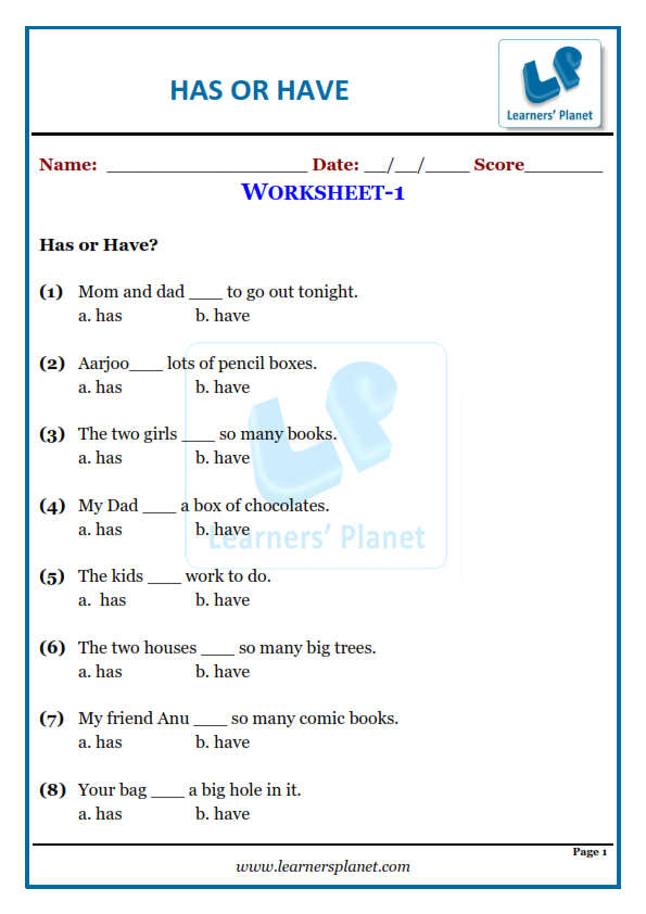 Has Or Have-English Worksheet For Grade 1