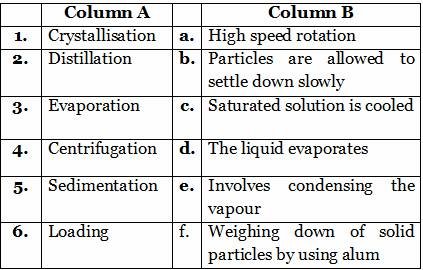 Separation of substances 6th cbse science worksheets