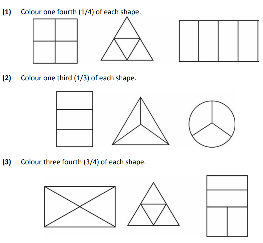 Basic fraction worksheets for class 2 maths