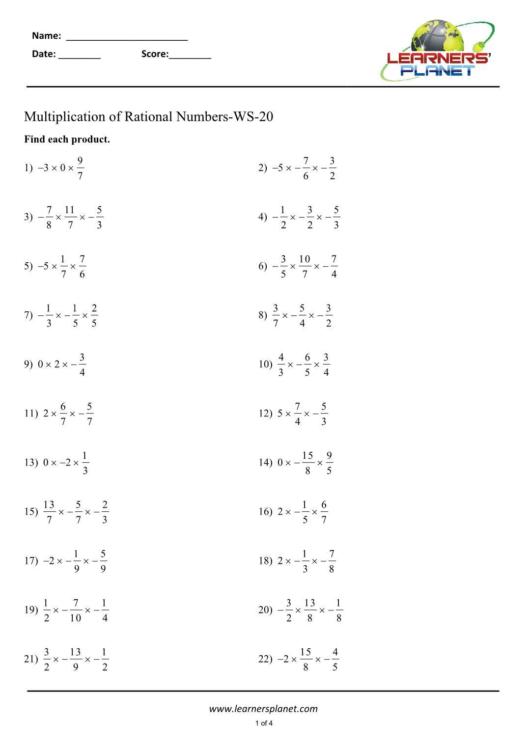 Multiplying rational numbers worksheets maths grade 5