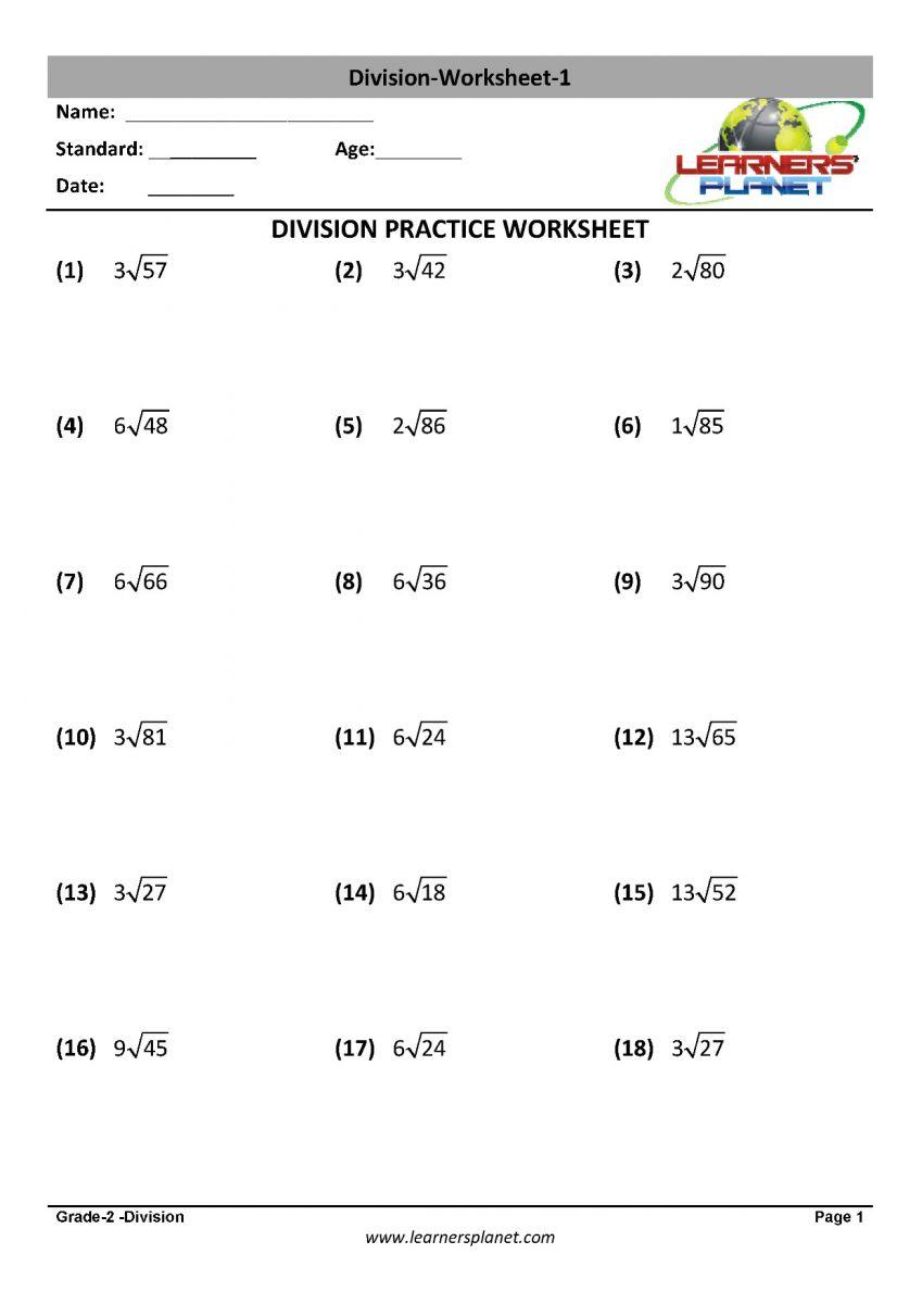 Division worksheets for grade 2 printable