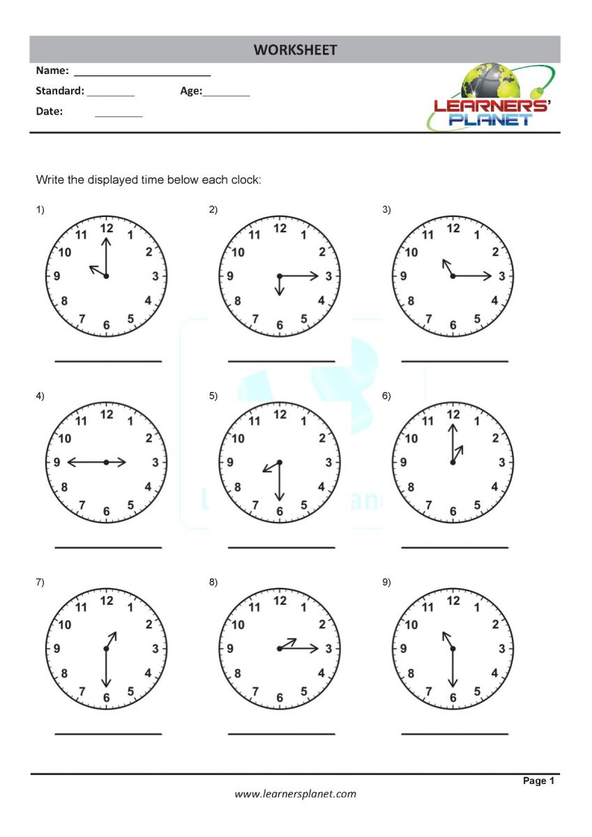Telling time worksheets for 3rd grade math